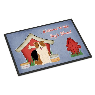 Dog House Border Collie Doormat Mat Size: Rectangle 2 x 3, Color: Red/White