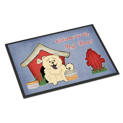 Dog House Chow Chow Doormat Color: White, Rug Size: 2 x 3