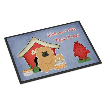 Dog House Chow Chow Doormat Rug Size: Rectangle 2 x 3, Color: Cream