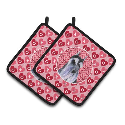 Schnauzer Hearts Love and Valentine's Day Portrait Potholder SS4477PTHD