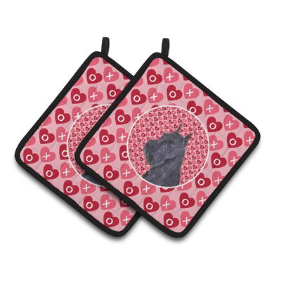 Schnauzer Hearts Love and Valentine's Day Portrait Potholder SS4523PTHD
