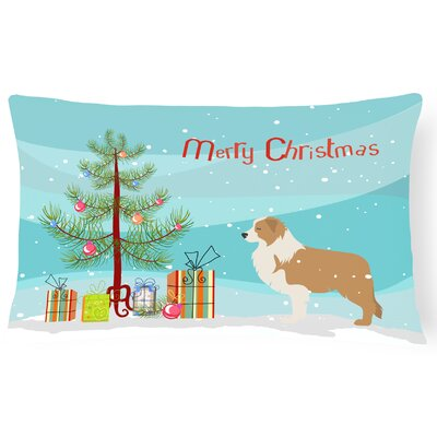 Border Collie Blue Square Indoor/Outdoor Lumbar Pillow
