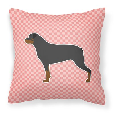Rottweiler Indoor/Outdoor Throw Pillow Size: 14 H x 14 W x 3 D, Color: Pink