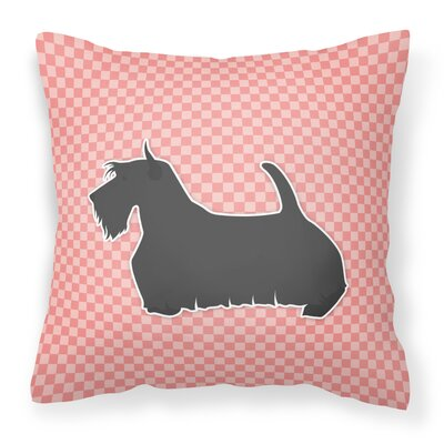 Scottish Terrier Square Indoor/Outdoor Throw Pillow Size: 14 H x 14 W x 3 D, Color: Pink
