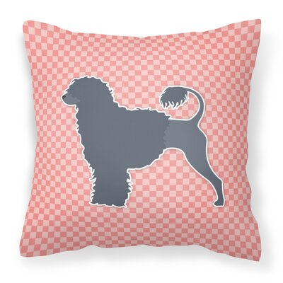 Portuguese Water Dog Square Indoor/Outdoor Throw Pillow Size: 14 H x 14 W x 3 D, Color: Pink