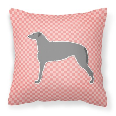 Scottish Deerhound Square Indoor/Outdoor Throw Pillow Size: 18 H x 18 W x 3 D, Color: Pink