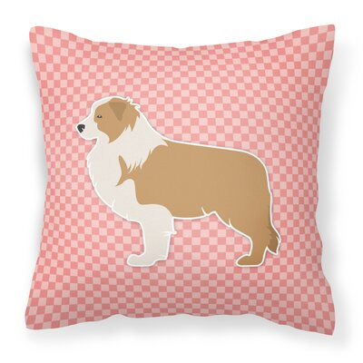 Border Collie Indoor/Outdoor Throw Pillow Size: 14 H x 14 W x 3 D, Color: Pink
