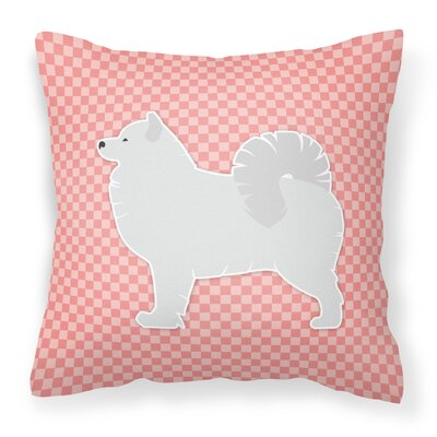 Samoyed Square Indoor/Outdoor Throw Pillow Size: 18 H x 18 W x 3 D, Color: Pink