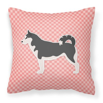 Siberian Husky Indoor/Outdoor Throw Pillow Size: 14 H x 14 W x 3 D, Color: Pink