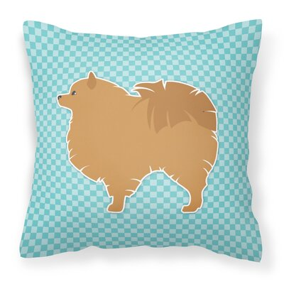 Pomeranian Square Indoor/Outdoor Throw Pillow Size: 18 H x 18 W x 3 D, Color: Blue