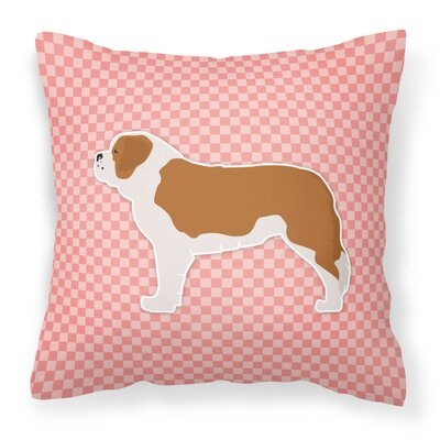 Saint Bernard Indoor/Outdoor Throw Pillow Size: 14 H x 14 W x 3 D, Color: Pink