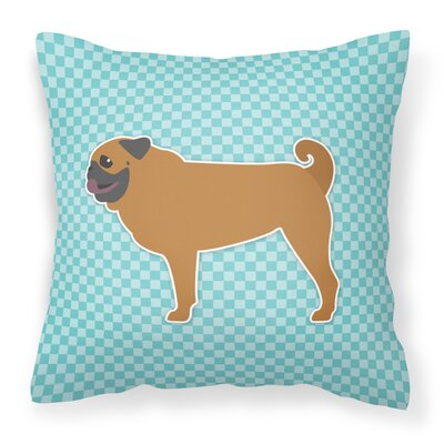 Pug Indoor/Outdoor Throw Pillow Size: 14 H x 14 W x 3 D, Color: Blue
