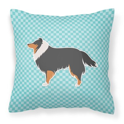 Sheltie Indoor/Outdoor Throw Pillow Size: 14 H x 14 W x 3 D, Color: Blue