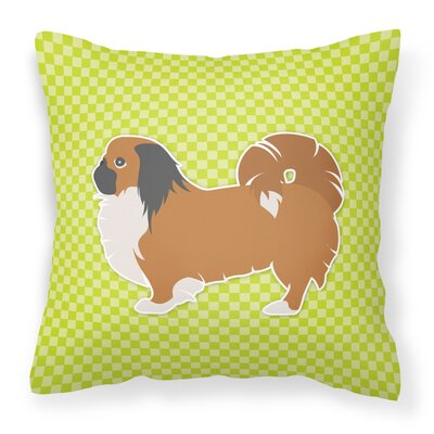 Pekingese Indoor/Outdoor Throw Pillow Size: 14 H x 14 W x 3 D, Color: Green
