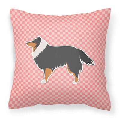 Sheltie Indoor/Outdoor Throw Pillow Size: 14 H x 14 W x 3 D, Color: Pink