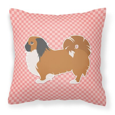 Pekingese Square Indoor/Outdoor Throw Pillow Size: 18 H x 18 W x 3 D, Color: Pink