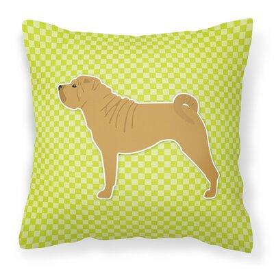 Shar Pei Indoor/Outdoor Throw Pillow Size: 14 H x 14 W x 3 D, Color: Green