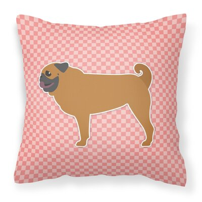 Pug Indoor/Outdoor Throw Pillow Size: 14 H x 14 W x 3 D, Color: Pink