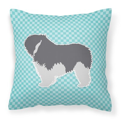 Polish Lowland Sheepdog Indoor/Outdoor Throw Pillow Size: 14 H x 14 W x 3 D, Color: Blue
