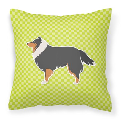 Sheltie Indoor/Outdoor Throw Pillow Size: 14 H x 14 W x 3 D, Color: Green