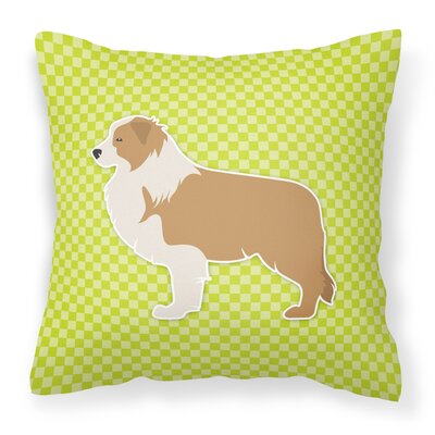 Border Collie Indoor/Outdoor Throw Pillow Size: 18 H x 18 W x 3 D, Color: Green