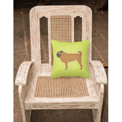 Pug Indoor/Outdoor Throw Pillow Size: 14 H x 14 W x 3 D, Color: Green