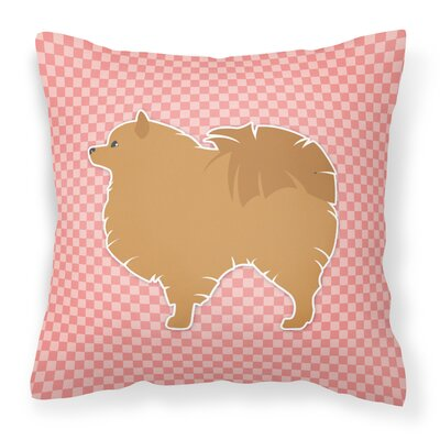 Pomeranian Square Indoor/Outdoor Throw Pillow Size: 14 H x 14 W x 3 D, Color: Pink