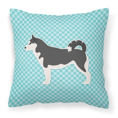 Siberian Husky Indoor/Outdoor Throw Pillow Size: 14 H x 14 W x 3 D, Color: Blue