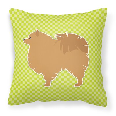Pomeranian Square Indoor/Outdoor Throw Pillow Size: 14 H x 14 W x 3 D, Color: Green