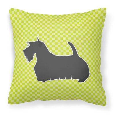 Scottish Terrier Indoor/Outdoor Throw Pillow Size: 14 H x 14 W x 3 D, Color: Green