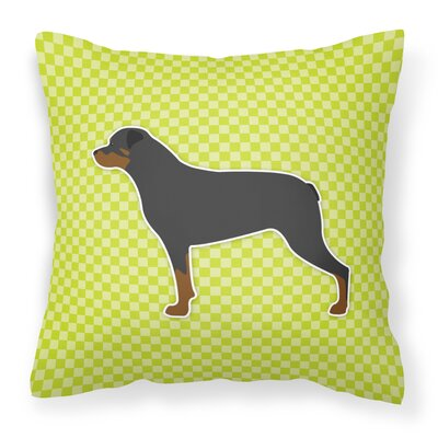 Rottweiler Indoor/Outdoor Throw Pillow Size: 14 H x 14 W x 3 D, Color: Green