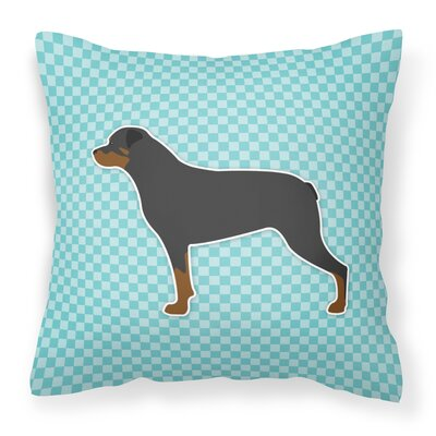 Rottweiler Indoor/Outdoor Throw Pillow Size: 14 H x 14 W x 3 D, Color: Blue