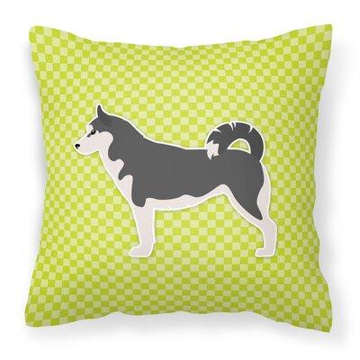 Siberian Husky Indoor/Outdoor Throw Pillow Size: 14 H x 14 W x 3 D, Color: Green