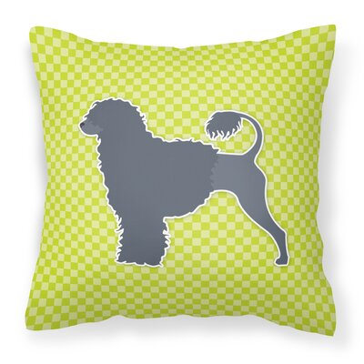 Portuguese Water Dog Indoor/Outdoor Throw Pillow Size: 14 H x 14 W x 3 D, Color: Green