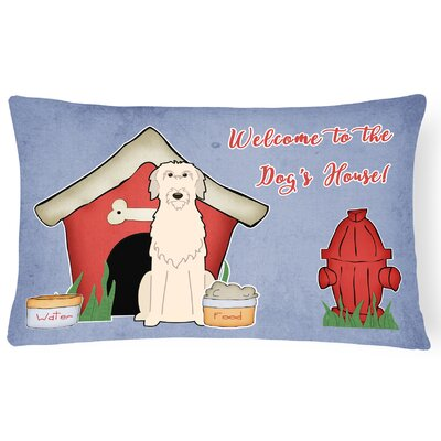 Dog House Indoor/Outdoor Blue Lumbar Pillow