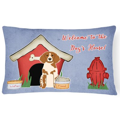 Dog House Modern Indoor/Outdoor Blue Lumbar Pillow