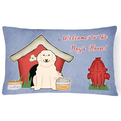 Dog House Purple/Red Indoor/Outdoor Lumbar Pillow