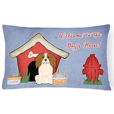 Wildlife Dog House Blue/Red Indoor/Outdoor Lumbar Pillow