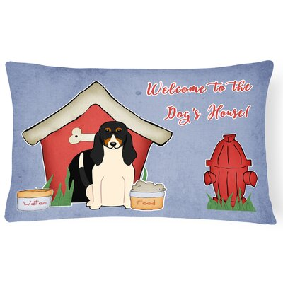 Dog House Rectangle Blue/Red Indoor/Outdoor Lumbar Pillow