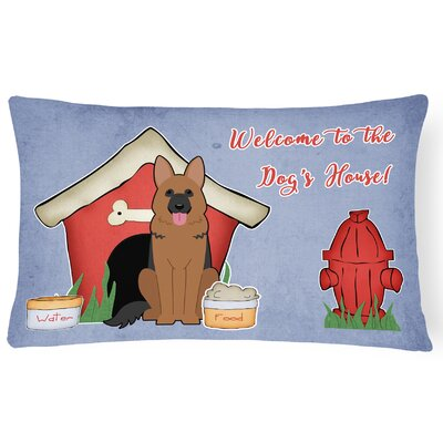 Dog House Blue Indoor/Outdoor Fabric Lumbar Pillow