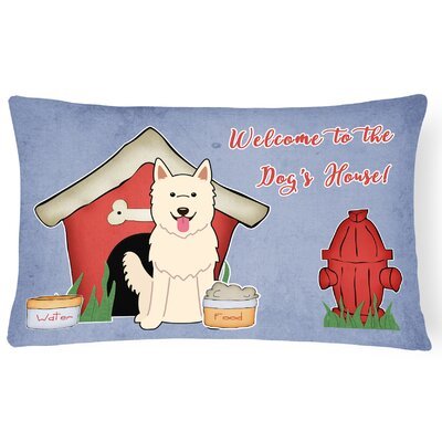 Dog House Blue/Red Indoor/Outdoor Fabric Lumbar Pillow