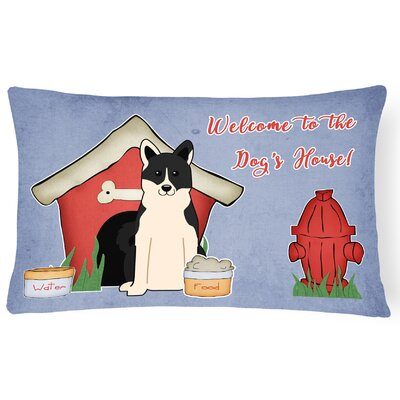Dog House Handmade Rectangle Indoor/Outdoor Fabric Lumbar Pillow