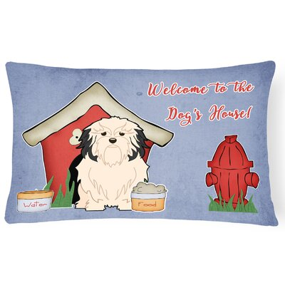 Dog House Handmade Purple/Red Indoor/Outdoor Lumbar Pillow