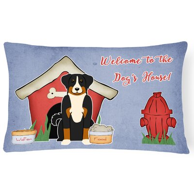 Dog House Blue/Red Indoor/Outdoor Lumbar Pillow