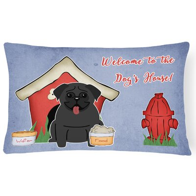 Dog House Rectangle Indoor/Outdoor Lumbar Pillow Color: Black