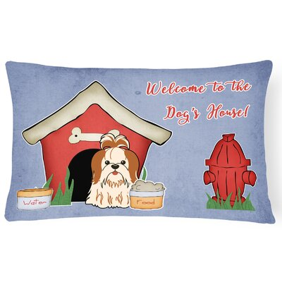 Wildlife Dog House Contemporary Indoor/Outdoor Lumbar Pillow Color: Red/White
