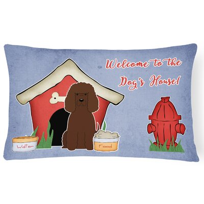 Dog House Blue/Red Indoor/Outdoor Graphic Print Lumbar Pillow