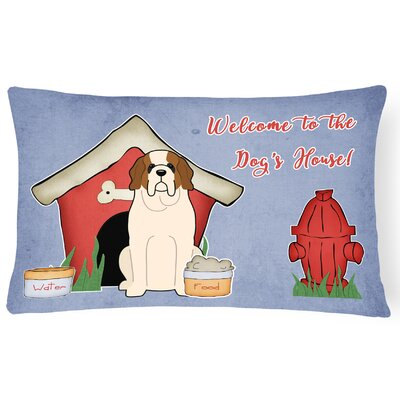 Dog House Soild Indoor/Outdoor Fabric Lumbar Pillow