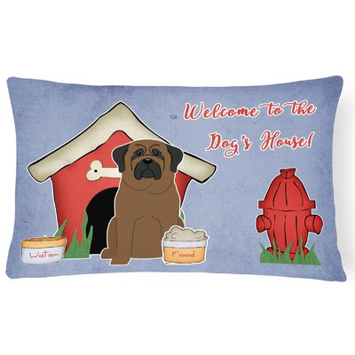 Dog House Rectangle Purple/Red Indoor/Outdoor Lumbar Pillow