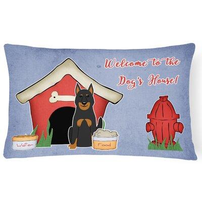Wildlife Dog Dog House Indoor/Outdoor Blue Lumbar Pillow